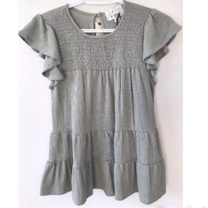 Anthropologie smocked T-shirt in MOSS